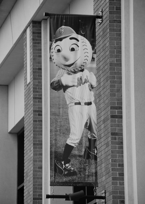 Shea Stadium Greeting Card featuring the photograph Mr Met In Black And White by Rob Hans
