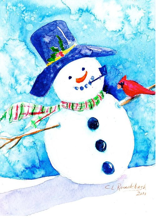 Greeting Card Greeting Card featuring the painting Mr Snowman by Cynthia Roudebush