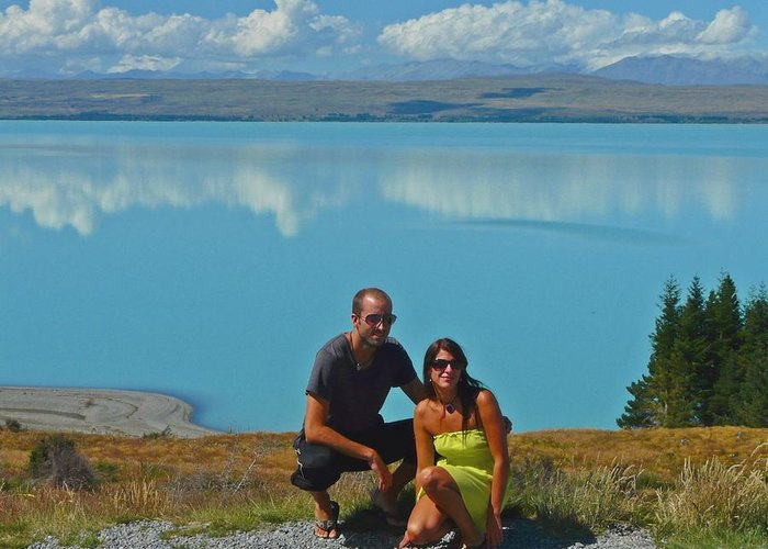 Couple Greeting Card featuring the photograph Mt. Cook Lake by David Rich