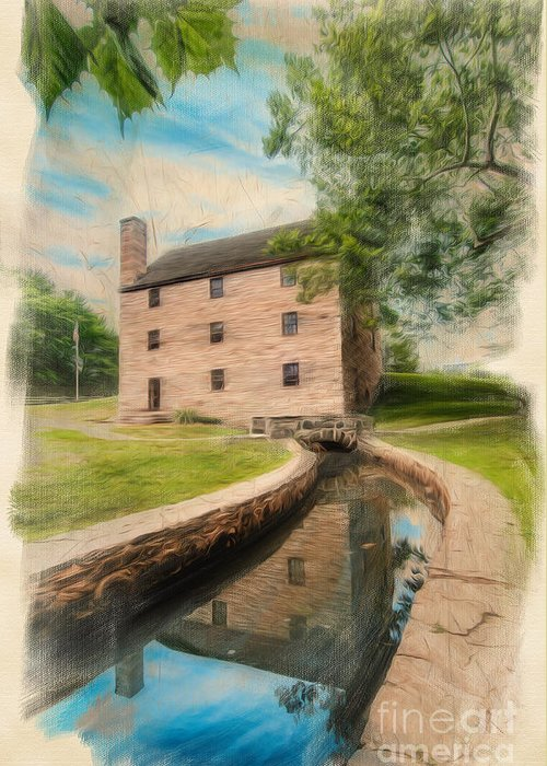 George Washington Greeting Card featuring the digital art Mt. Vernon Gristmill Art by Jim Moore