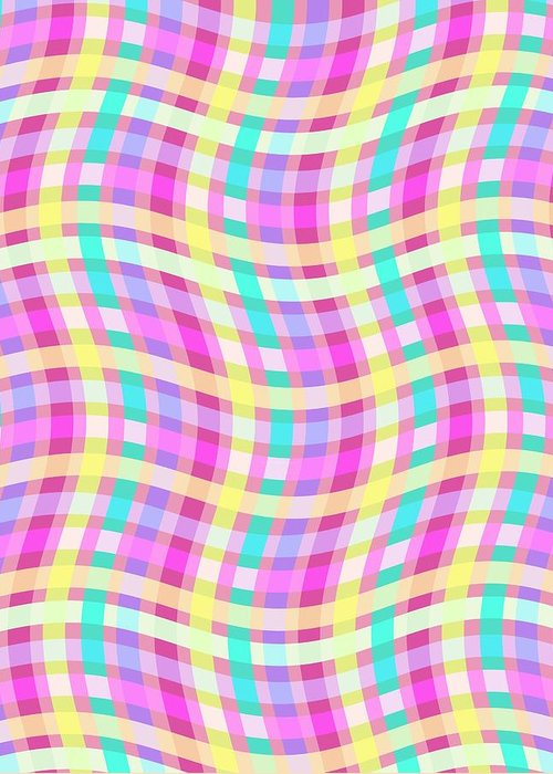 Multi Check Greeting Card featuring the digital art Multi Check by Louisa Knight
