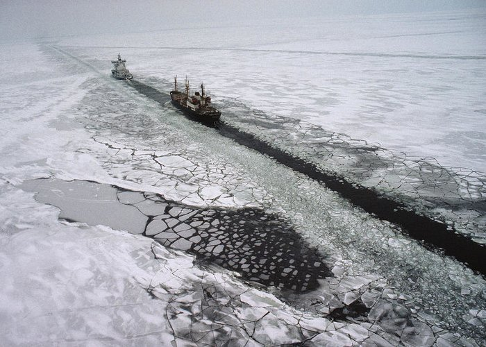 Outdoor Greeting Card featuring the photograph Multinational Fleet Of Icebreakers by Cotton Coulson