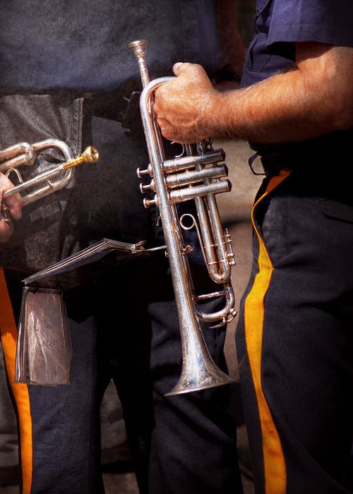 Trumpet Greeting Card featuring the photograph Music - Trumpet - Police Marching Band by Mike Savad