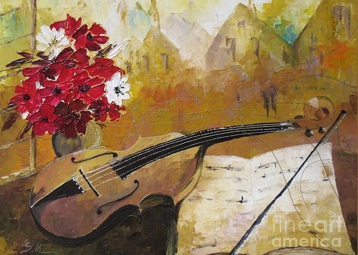 Music Greeting Card featuring the painting Music by Amalia Suruceanu