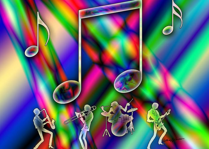 Imagination Greeting Card featuring the digital art Music by Anthony Caruso