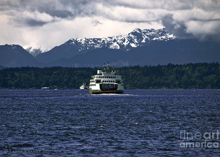 Seattle Greeting Card featuring the photograph Mv Kaleetan Ferry by Larry Keahey