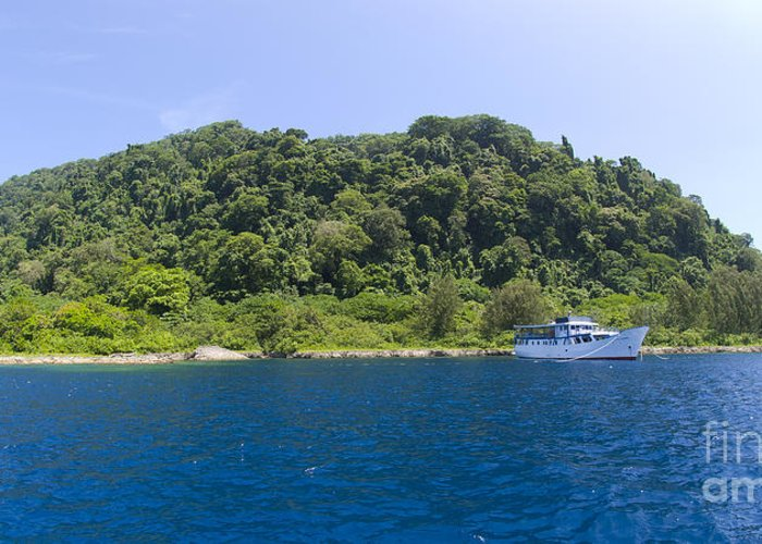 Mary Island Greeting Card featuring the photograph Mv Spirit Of Solomons Moored In Front by Steve Jones