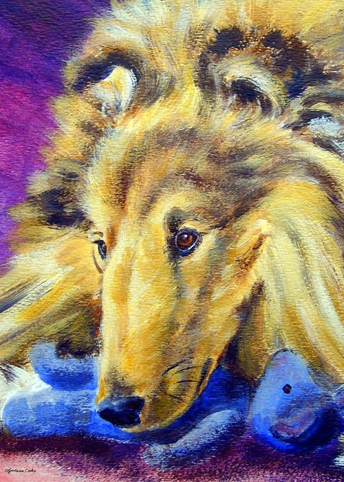 Shetland Sheepdog Greeting Card featuring the painting My Blue Teddy - Shetland Sheepdog by Lyn Cook