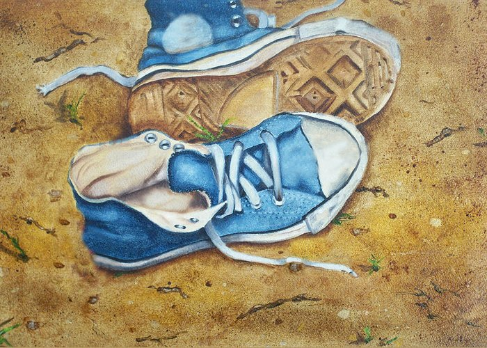 Converse Greeting Card featuring the painting My Blues by Ann Marie Napoli