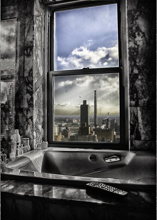 Manhattan Greeting Card featuring the photograph My Favorite Channel Is Manhattan View by Madeline Ellis