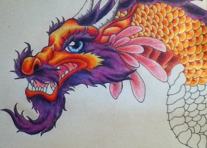 Dragon Greeting Card featuring the drawing My Next Tattoo by Erica Koczorowski
