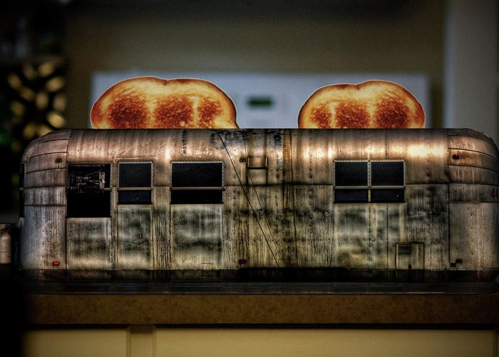 Airstream Greeting Card featuring the photograph My Old Toaster by Jan Maklak