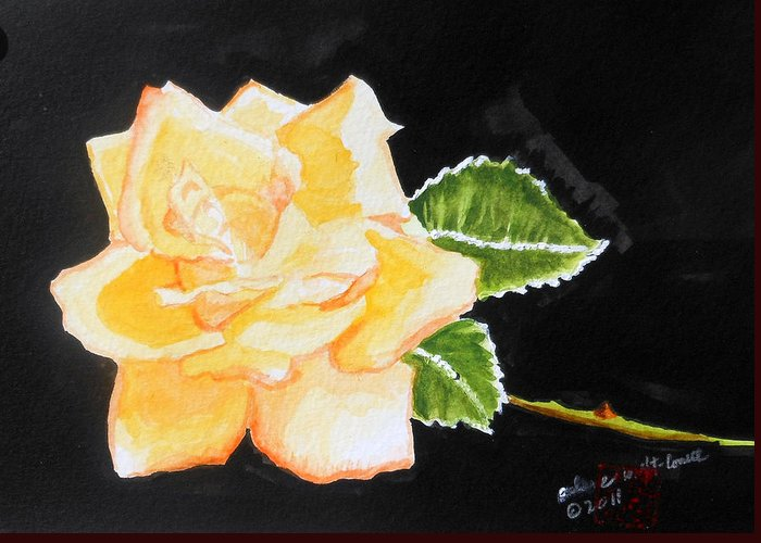 Roses Greeting Card featuring the painting My Yellow Rose by Arlene Wright-Correll