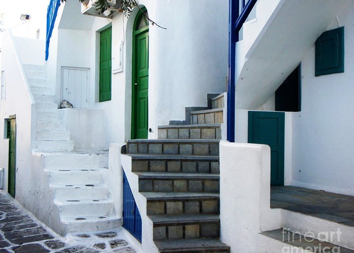 Mykonos Greeting Card featuring the photograph Mykonos Stairs by Rebecca Margraf