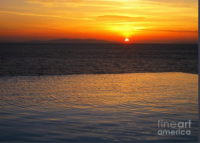 Mykonos Greeting Card featuring the photograph Mykonos Sunset by Leslie Leda