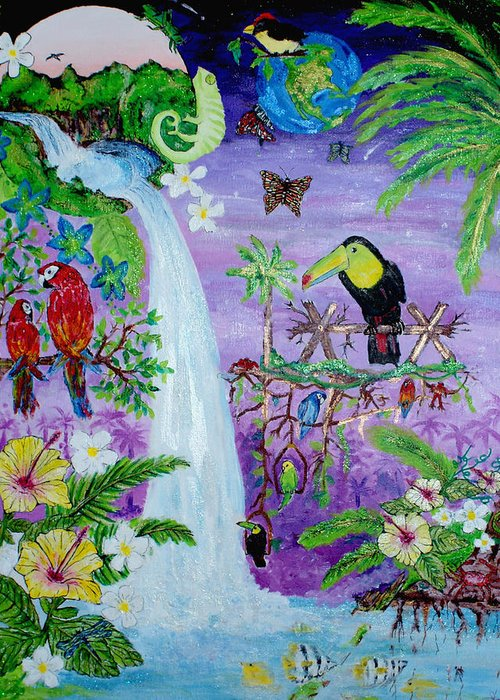 Abstract Greeting Card featuring the painting Mysterious Jungle by Sabrina Logan