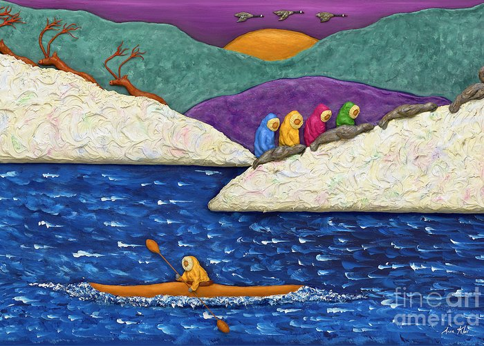 Arctic Greeting Card featuring the sculpture Mysterious North by Anne Klar