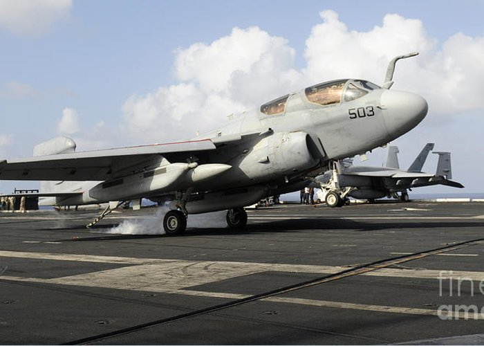 Landing Greeting Card featuring the photograph N Ea-6b Prowler Makes An Arrested by Stocktrek Images