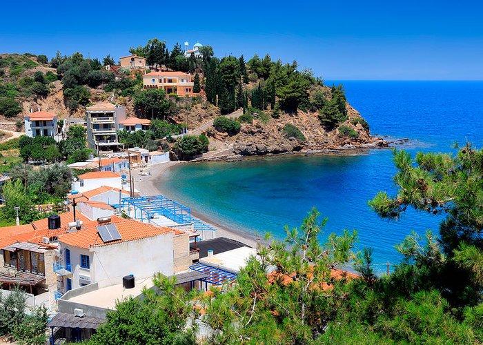 Agios Isidoros Greeting Card featuring the photograph Nagos Beach by Emmanuel Panagiotakis