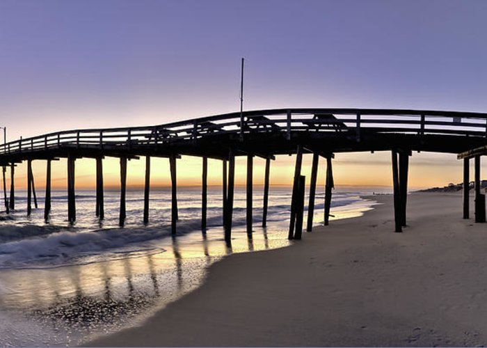 Nags Head Greeting Card featuring the photograph Nags Head Fishing Pier At Sunrise - Outer Banks Scenic Photography by Rob Travis