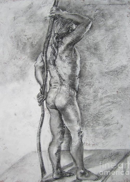 Nude Greeting Card featuring the drawing Naked by Julianna Ziegler