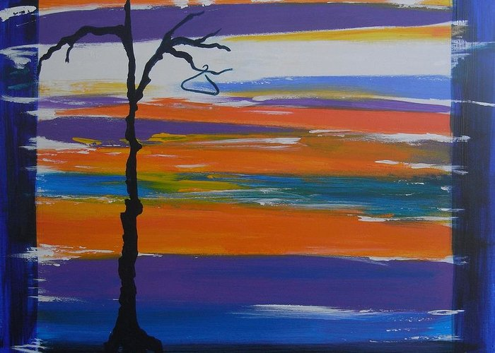 Abstract Greeting Card featuring the painting Naked by Lynne Bishop