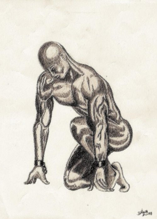 Black Greeting Card featuring the drawing Naked Man by Shawn Williams