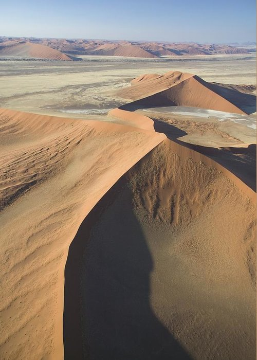 Desert; Landscape; Bird's Eye View; Remote; Wilderness; African; Arid; Dry; Empty; Hot; Dunes; Epic; Distance; Sand Dunes; Formation; Geological; Formations; Natural Phenomenon; Scenic; Plain; Plains; Mountains Greeting Card featuring the painting Namib Desert by Unknown