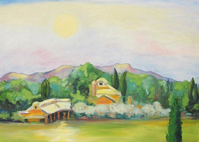 Nappa County Moon Greeting Card featuring the painting Napa Moon by Barbara Anna Knauf