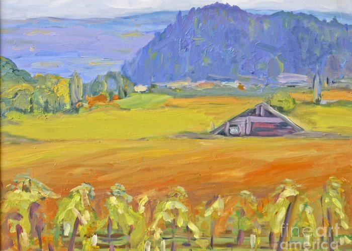 Napa Valley In Fall Greeting Card featuring the painting Napa Valley Mountains by Barbara Anna Knauf