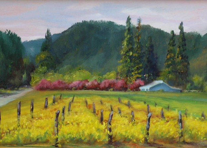 Napa Valley Mustards Greeting Card featuring the painting Napa Valley Mustards On Silverado Trail by Deirdre Shibano