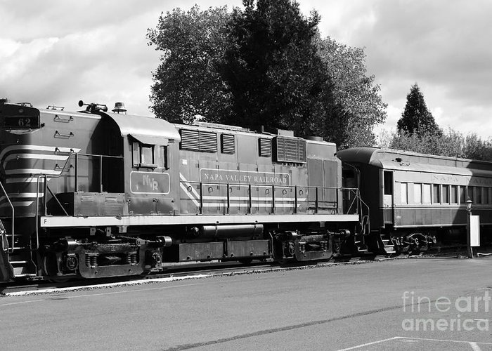 Black And White Greeting Card featuring the photograph Napa Valley Railroad Wine Train Locomotive In Napa California Wine Country . Black And White . 7d899 by Wingsdomain Art and Photography