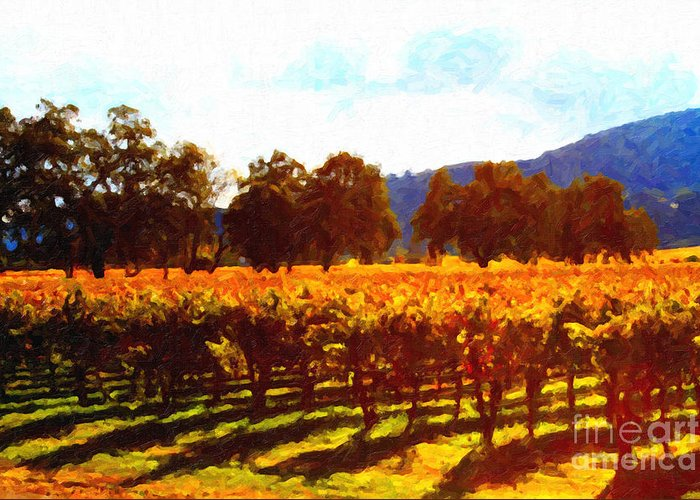 Landscape Greeting Card featuring the photograph Napa Valley Vineyard In Autumn Colors 2 by Wingsdomain Art and Photography