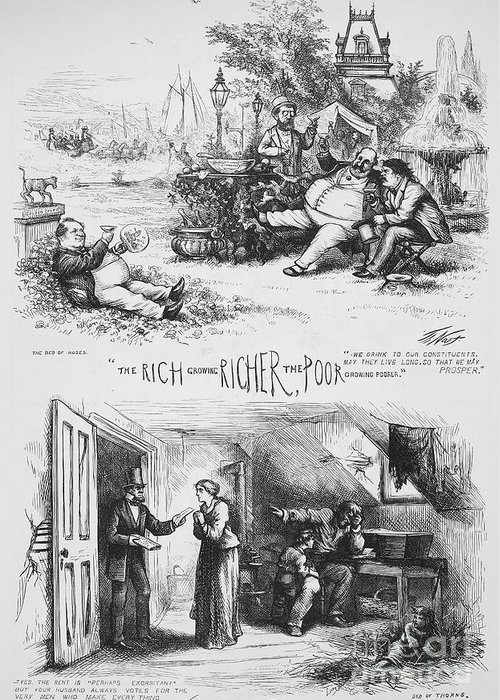1871 Greeting Card featuring the photograph Nast: Tweed Ring Cartoon by Granger