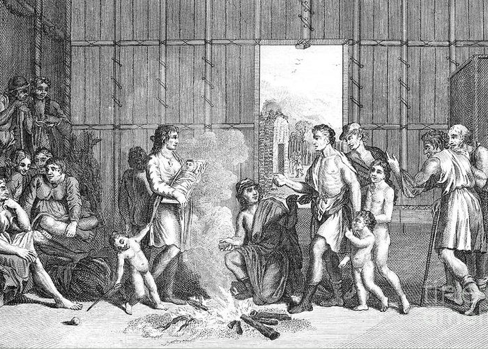 18th Century Greeting Card featuring the photograph Native Americans: Divorce Ceremony by Granger