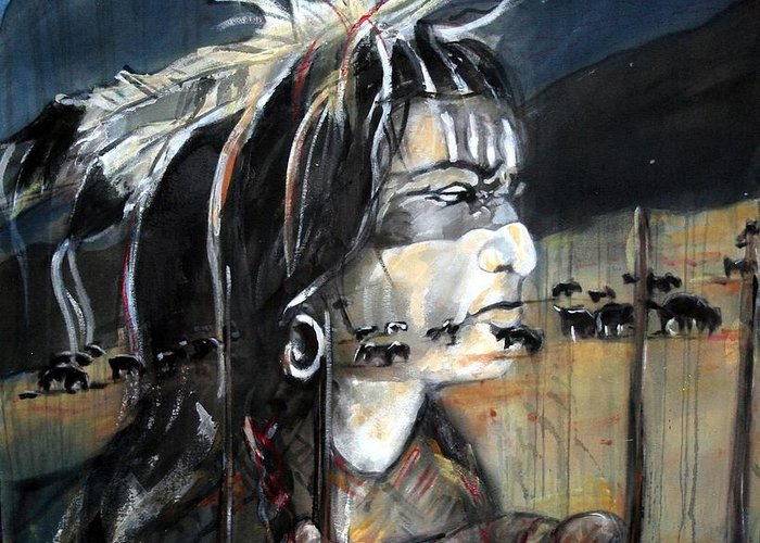 Native American Greeting Card featuring the painting Native by Christine Chzasz