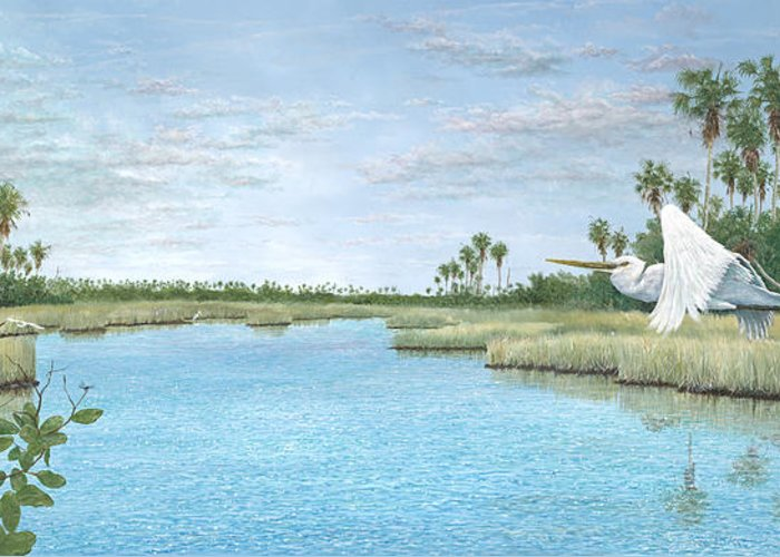 Egret Greeting Card featuring the painting Nature Coast by Kevin Brant