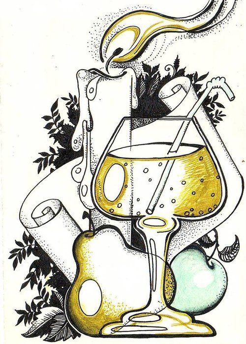 Greeting Card featuring the drawing nature-mort from BAR by Margarita Kobyzova