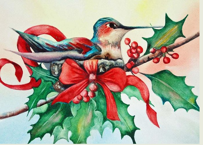 Hummer Greeting Card featuring the painting Nature's Gift by Diane Fujimoto