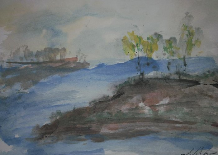 Inlet Greeting Card featuring the painting Navarro River Inlet by Edward Wolverton