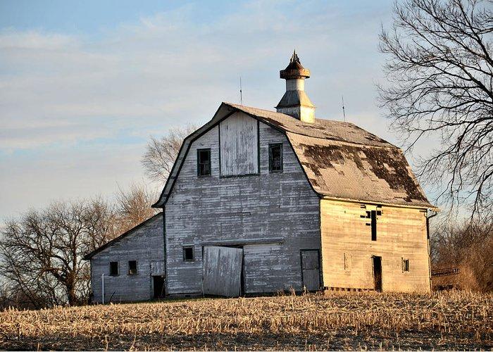 Nebraska Barn Greeting Card featuring the photograph Nebraska Barn In Otoe County by Christine Belt