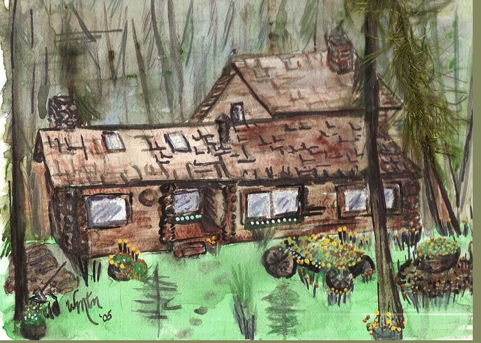 Log Cabin Greeting Card featuring the painting Neighbors Cabin Montana by Windy Mountain