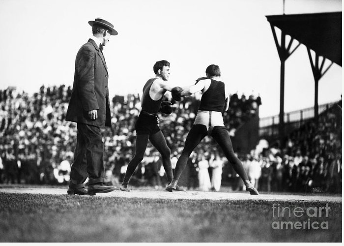 1902 Greeting Card featuring the photograph Nelson Vs. Hurley, 1902 by Granger