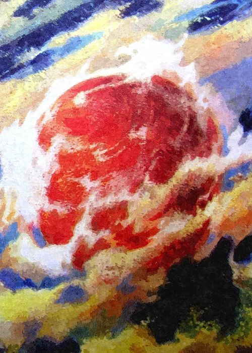Astronomy Greeting Card featuring the painting Nemesis Star by Goldy Parazi