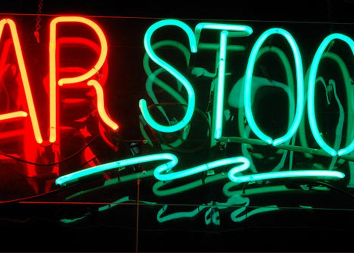 Neon Greeting Card featuring the photograph Neon Bar Stools by Steven Milner