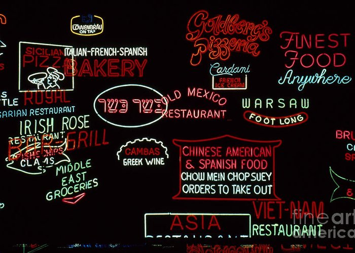 20th Century Greeting Card featuring the photograph Neon Signs, 1937-1971 by Granger