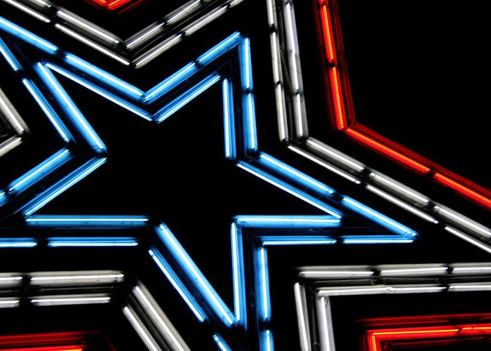 Neon Greeting Card featuring the photograph Neon Star by Darren Fisher