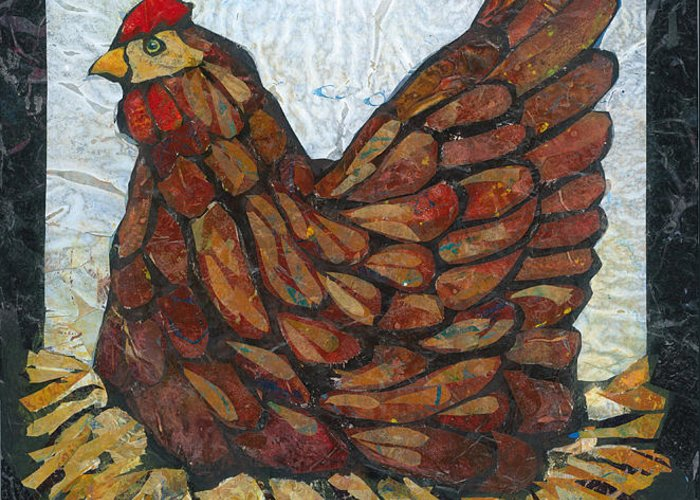 Chicken Greeting Card featuring the painting Nesting Hen by Barbara Nye
