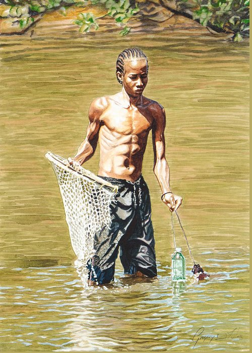 Net Greeting Card featuring the painting Netfishing by Gregory Jules