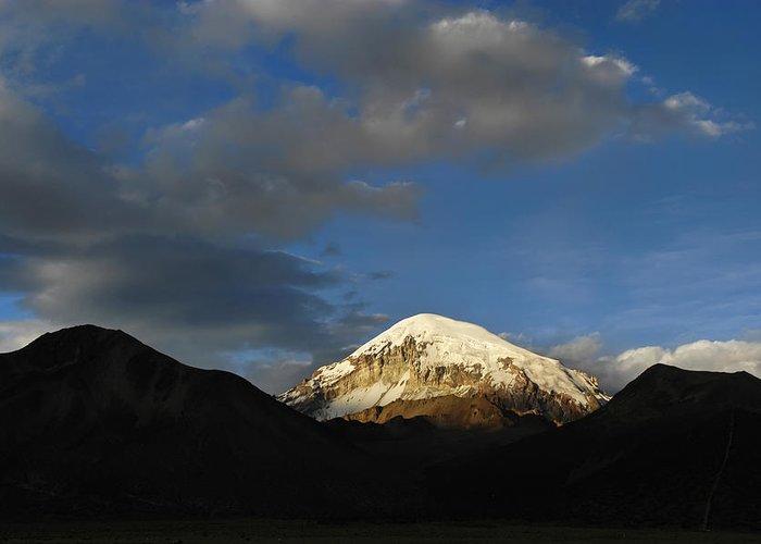 Nevado Sajama Greeting Card featuring the photograph Nevado Sajama At Sunset. Republic Of Bolivia. by Eric Bauer